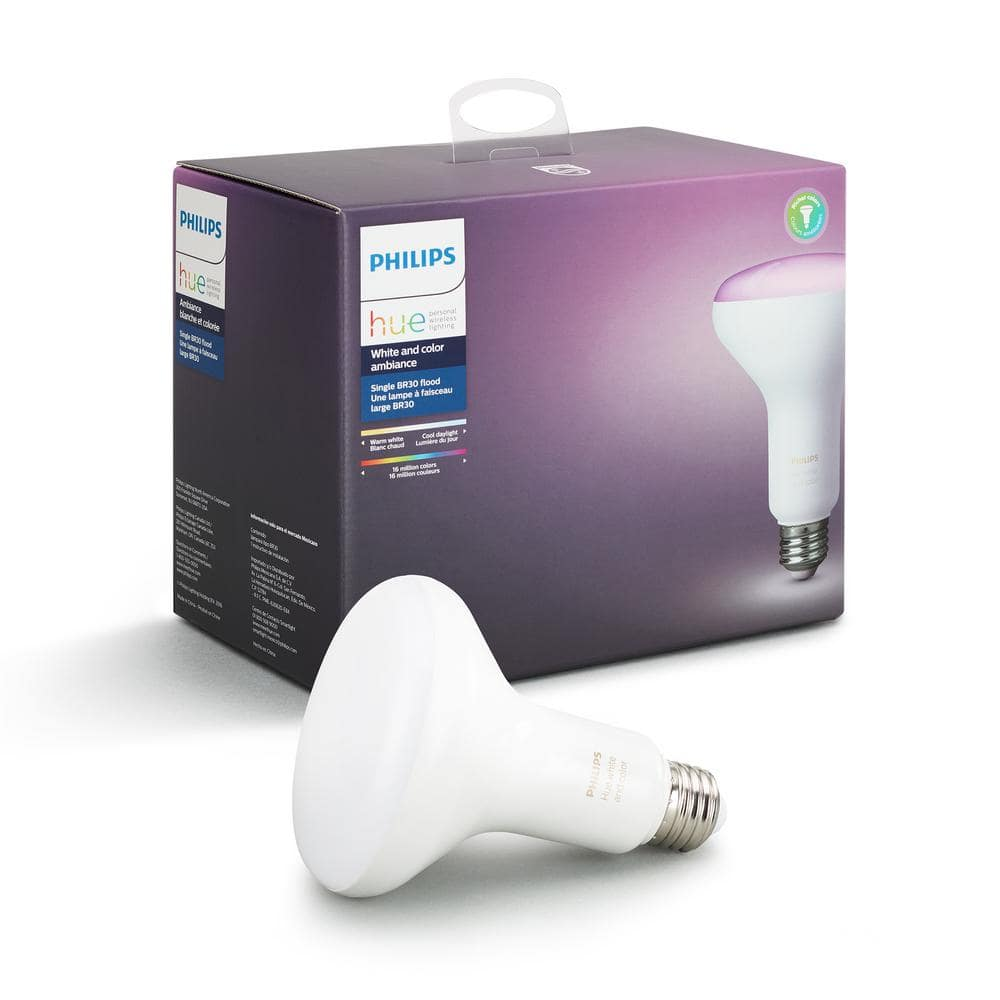 Philips Hue White and Color Ambiance BR30 LED 65W Equivalent Dimmable Smart Wireless Flood Light Bulb