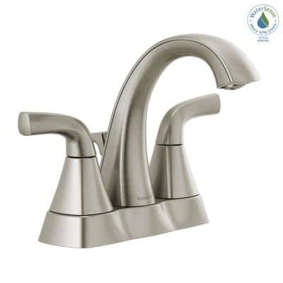 Parkwood 4 in. Centerset 2-Handle High-Arc Spout Bathroom Faucet with Pop-Up Assembly in Brushed Nickel