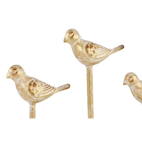 Litton Lane Vintage Style Metallic Gold Carved Metal Bird Figurines On White Wood Base 18986 The Home Depot