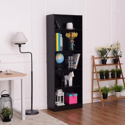 68 in. H Black Wood 5-Shelf Standard Bookcase