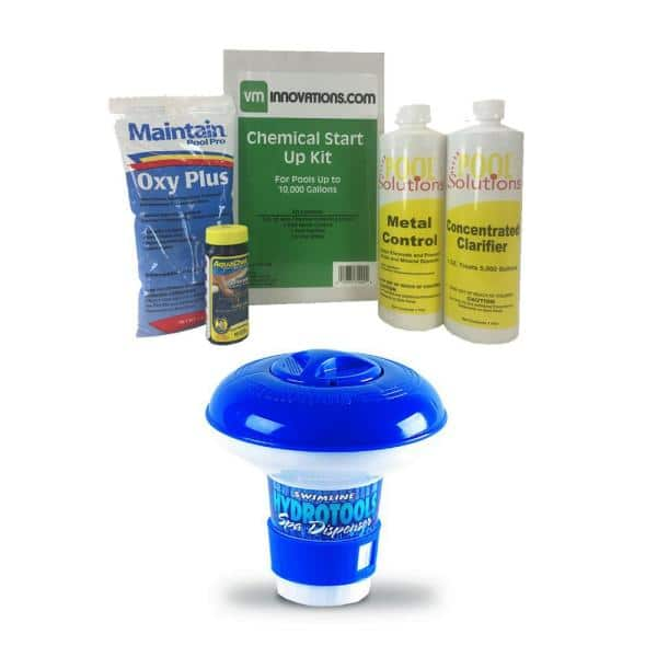 Swimming Pool Start Up Chemical Kit With Hydrotools Floating Chemical Dispenser 10k 7 28 1200 8715 The Home Depot