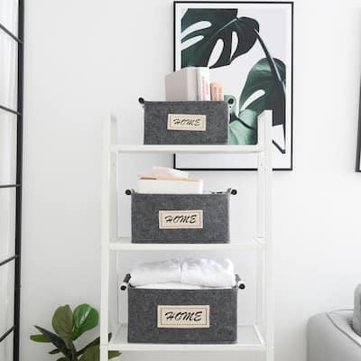 Home Gray Nesting Storage Felt Baskets with Handles