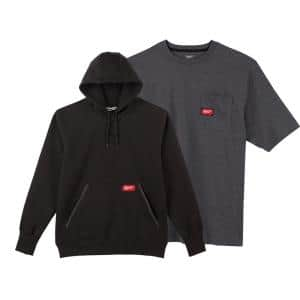 Men's X-Large Black Heavy-Duty Cotton/Polyester Long-Sleeve Pullover Hoodie and Short-Sleeve Gray Pocket T-Shirt
