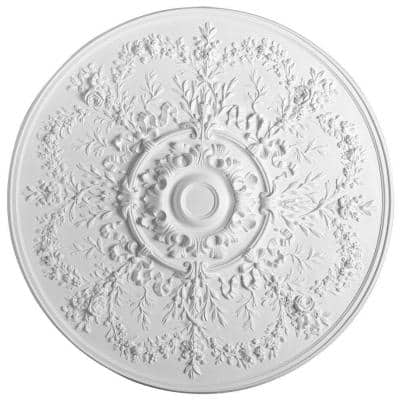 European Collection 37-5/8 in. x 3-1/8 in. Floral Polyurethane Ceiling Medallion