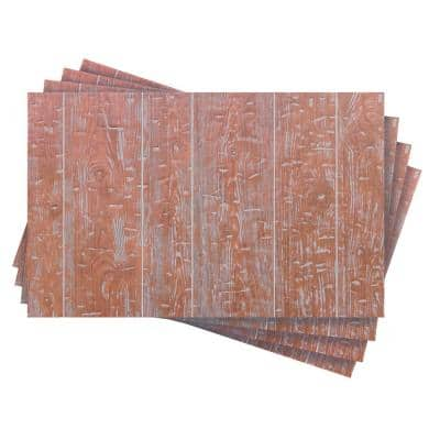 42.67 sq. ft. 1/4 in. x 32 in. x 48 in. Red Barn Hand Hewn Embossed Wood Grain Wainscoting Panel (4-Pack)