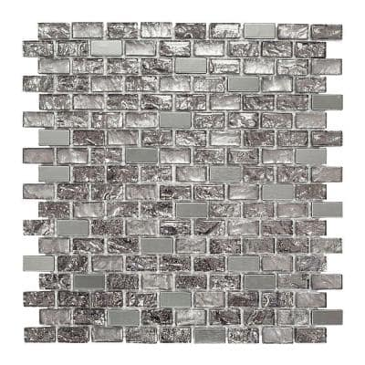 Palazzo Silver Metallic 11.875 in. x 11.375 in. Interlocking Brick Textured Glass Mosaic Tile (0.938 sq. ft./Each)