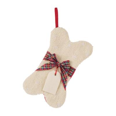 12.5 in. Hooked Christmas Decor Stocking with Bone Shape