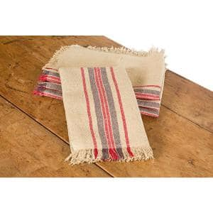 Linen Stripe 14 in. x 22 in. Natural Tea Towels (Set of 4)