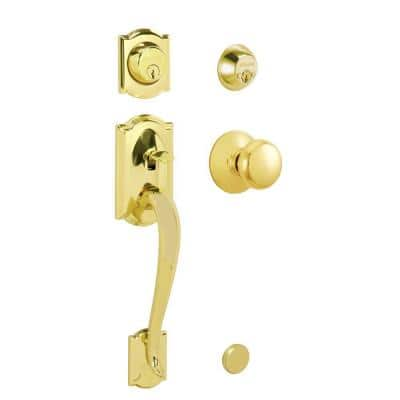 Camelot Bright Brass Double Cylinder Deadbolt with Plymouth Knob Door Handleset