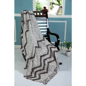 Zig Gray / Beige Throw Blanket