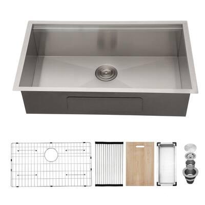Brushed 18-Gauge Stainless Steel 33 in. Single Bowl Undermount Kitchen Sink