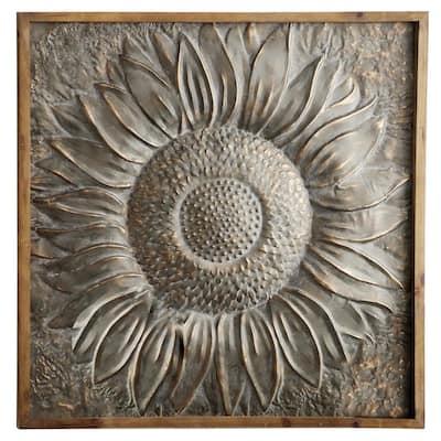 39 in. x 39 in. Grey Metal Rustic Floral Wall Decor