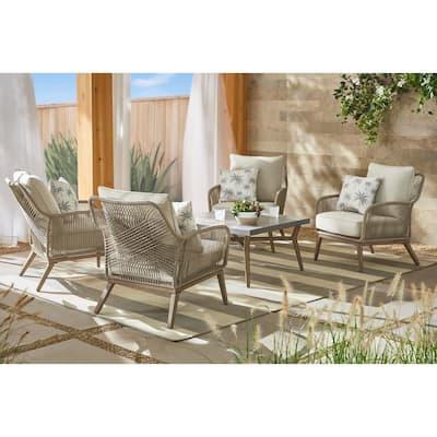 Haymont 5-Piece Steel Wicker Outdoor Patio Conversation Deep Seating Set with Beige Cushions