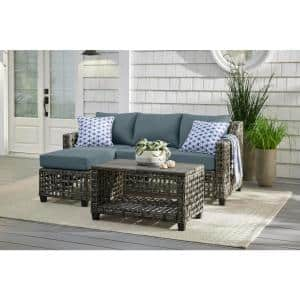 Briar Ridge 3-Piece Brown Wicker Outdoor Patio Sectional Sofa with Sunbrella Denim Blue Cushions