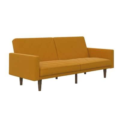 Paige Mustard Yellow Linen Upholstered Futon