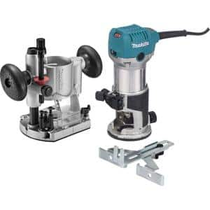 6.5 Amp 1-1/4 HP Corded Plunge Base Variable Speed Compact Router Kit With Collet, Base, Straight Guide, (2) Wrenches