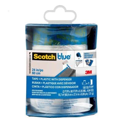 24 in. x 30 yd. Pre-Taped Painter's Plastic with Edge-Lock and Dispenser (Case of 6)
