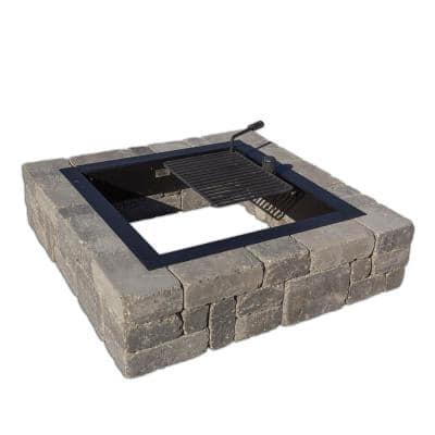 Victorian 48 in. x 12 in. Square Concrete Wood Burning Bluestone Fire Pit Kit with Cooking Grate