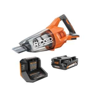 18V Cordless Hand Vacuum Kit with Nozzles, Extension Tube, and 18V Lithium-Ion 2.0 Ah Battery and Charger