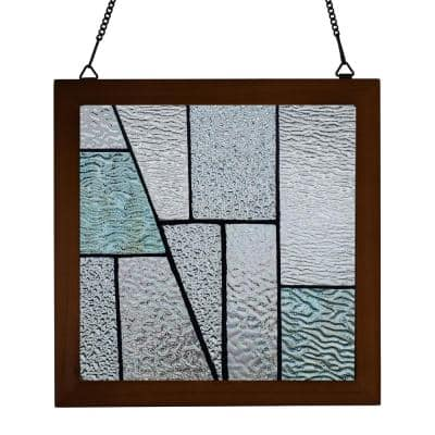 Aqua Geometric Wood Framed Stained Glass Window Panel