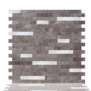 6-sheets Warm Stone 11.5 in. x 11.75 in. Peel and Stick Decorative Metallic Wall Tile Backsplash [6 sq.ft. / pack]