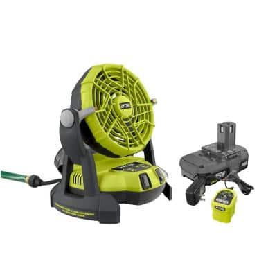 ONE+ 18V Portable Bucket Top Misting Fan Kit with 1.5 Ah Battery and 18V Charger