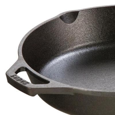 10.25 in. Cast Iron Skillet in Black with Pour Spout
