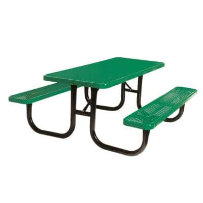 Portable 6 ft. Green Diamond Commercial Rectangular Table