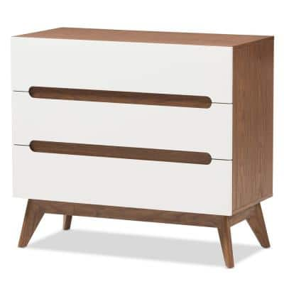 Calypso 3-Drawer White and Brown Chest of Drawers