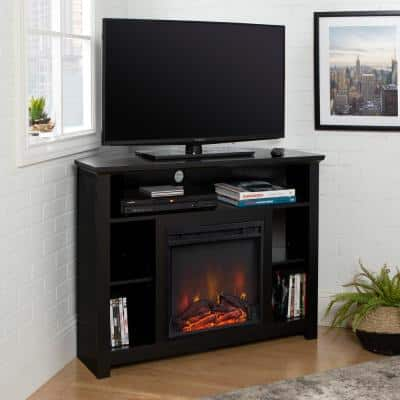Highboy 44 in. Black MDF Corner TV Stand 48 in. with Electric Fireplace