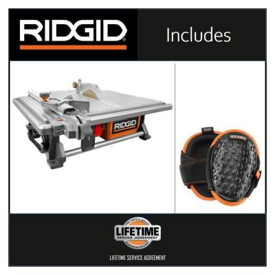 6.5 Amp Corded 7 in. Table Top Wet Tile Saw with Gel-Foam Knee Pads