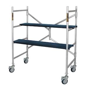 Alu Series 4 ft. H x 3.5 ft. L x 1.8 ft. D Aluminum Mini Scaffold Platform with Caster Wheels, 600 lbs. Load Capacity