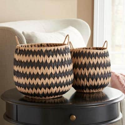 Woven Basket Natural with Black Pattern (Set of 2)