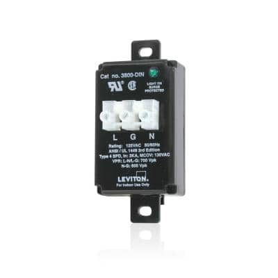120-Volt AC 2-Pole 3-Wire DIN-Rail Mounted Wired-In Module Equipment Cabinet Surge Protective Device, Black
