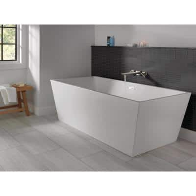 Slade 67 in. Acrylic Flatbottom Bathtub with Integrated Waste and Wall-Mount Tub Filler in White