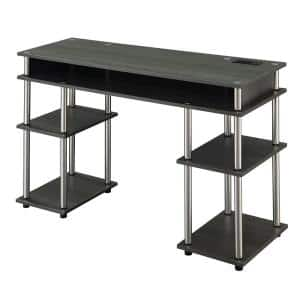 Designs2Go 47.25 in. W Charcoal Gray No Tools Student Desk with Charging Station
