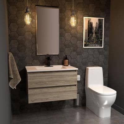 Sidemere 36 in. W x 18 in. D Vanity in Savanna with Porcelain Vanity Top in Solid White with White Basin