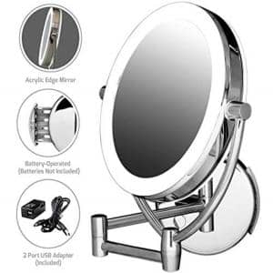 Wall Mount Lighted Makeup Mirror, 1x/10x Magnification, 9.5 in. Polished Chrome