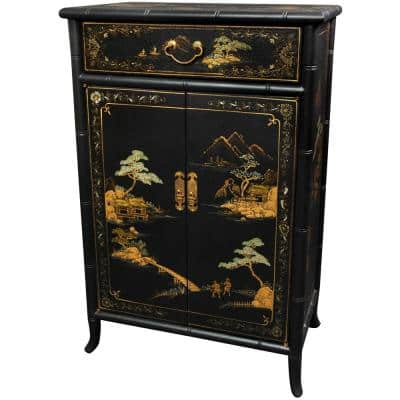 Oriental Furniture Black Lacquer Japanese Shoe Cabinet