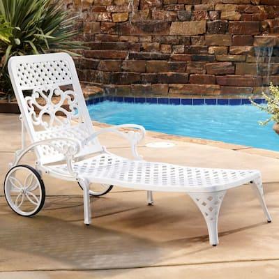 Sanibel White Cast Aluminum Outdoor Chaise Lounge