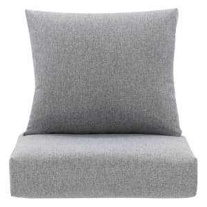 25 in. x 18 in. 2-Piece Outdoor Lounge Chair Replacement Cushion in Grey