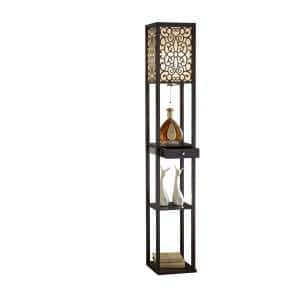 63 in. Expresso Etagere Shelf Floor Lamp with Drawer