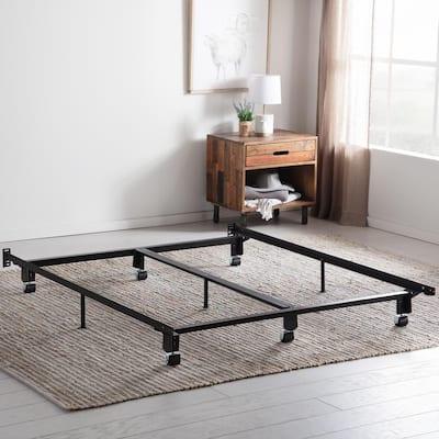 Steel Wedge Lock Metal Queen Bed Frame with Rug Rollers
