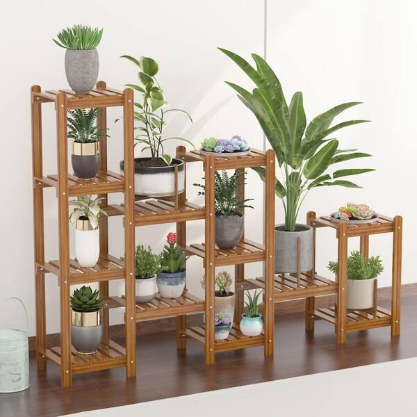 6 Tier Wood Plant Shelf Holder Indoor, Outdoor Plant Shelves