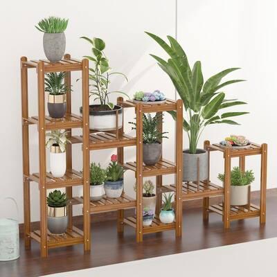 6-Tier Wood Plant Shelf Holder Indoor Outdoor Flower Rack Display Storage Shelves Plant Stand