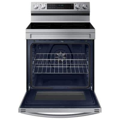 6.3 cu. ft. Smart Wi-Fi Enabled Convection Electric Range with No Preheat AirFry in Stainless Steel