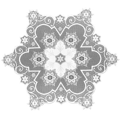 Snowflake 47 in. W x 47 in. L White Floral Polyester Round Table Topper