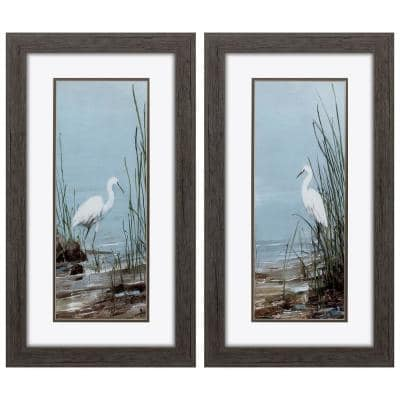 """""""ISLAND EGRET S/2"""" Framed Wall Art Nature 27 in. x 15 in."""