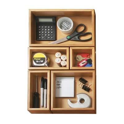 5-Piece Bamboo Storage Box Drawer Organizer Set