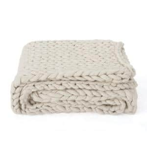 Marnie Ivory Acrylic Throw Blanket